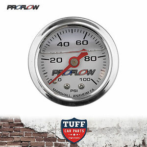Proflow-0-100-PSI-Liquid-Filled-Fuel-Pressure-Gauge-1-8-NPT-PFEFG100LF-New
