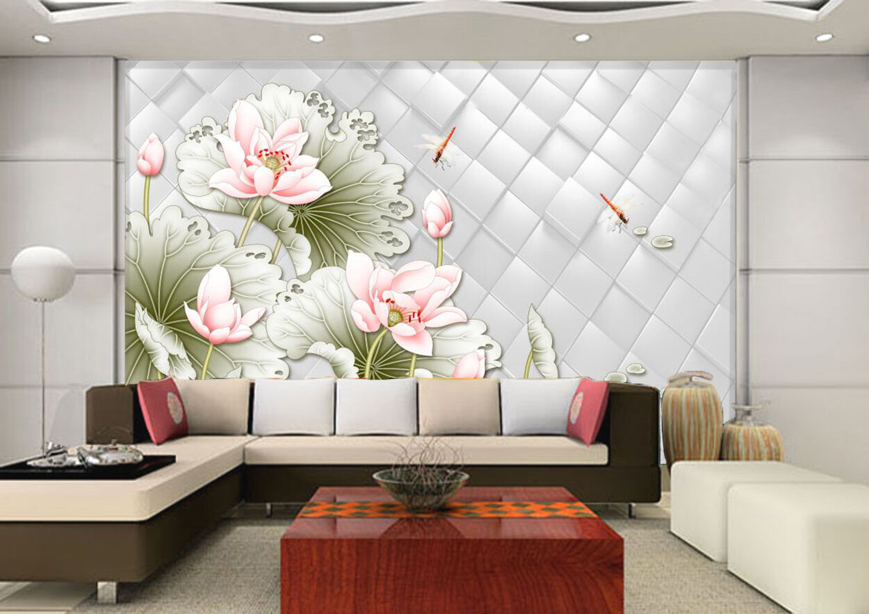 3D Lotus dragonfly 342 Wall Paper Wall Print Decal Wall Deco Indoor Wall Murals