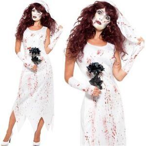 Halloween-femmes-zombie-mariee-costume-deguisement-amp-gants-par-SMIFFYS-NEUF