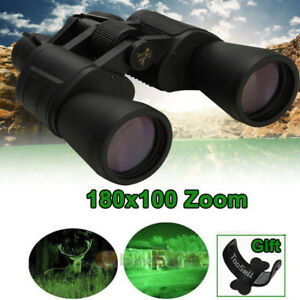 180x100 Zoom Day Night Vision Outdoor HD Binoculars Hunting Telescope +Case Much