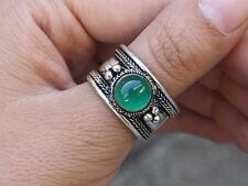 Large Adjustable Tibetan Natural Round Green Jade Gemstone Weaving Dotted Ring