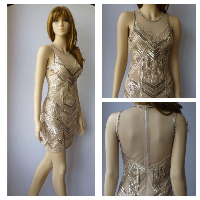 Miss Selfridge Nude Vintage 20\'s Gatsby Party Evening Dress Size UK ...