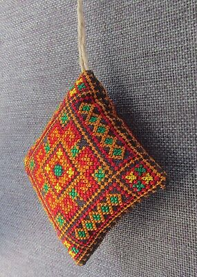 """Ukrainian Embroidered Needle Pin Cushions Pillow,Fabric Xmas Ornament,Red 1.5/"""""""