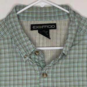Exofficio-Mens-Vented-Shirt-LS-Green-Plaid-Large