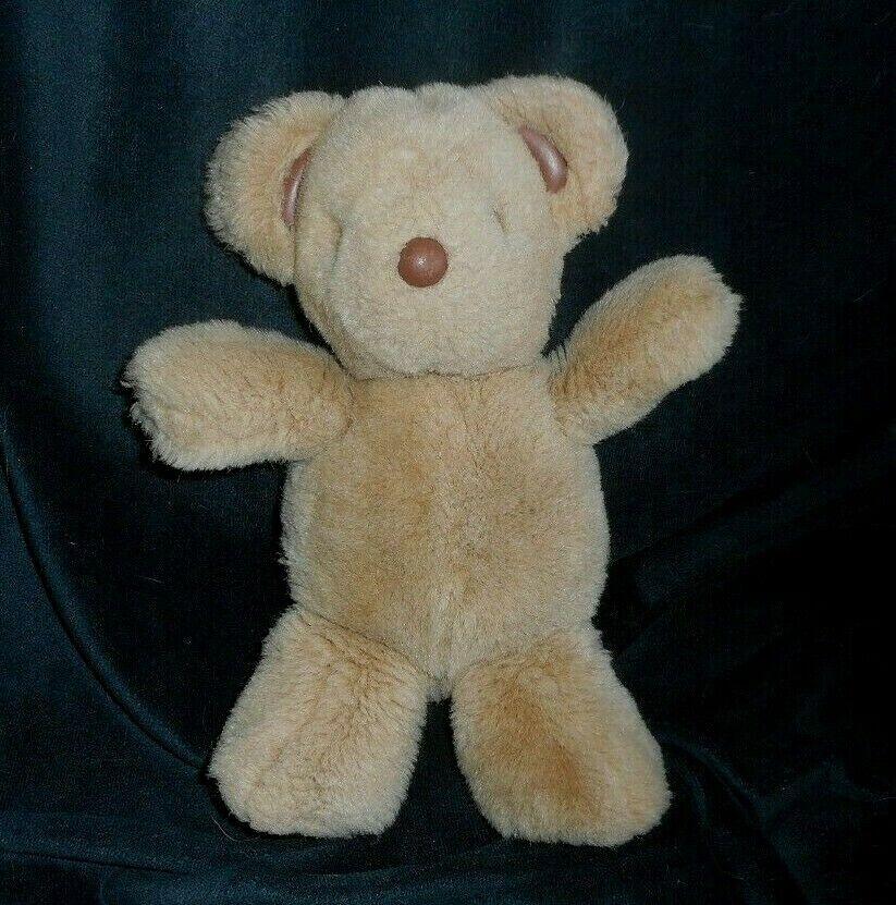 VINTAGE 1993 GUND BROWN TEDDY BEAR LEATHER EARS NOSE STUFFED ANIMAL PLUSH TOY