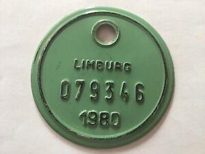 Vintage Belgian Bicycle License Plate 1980.