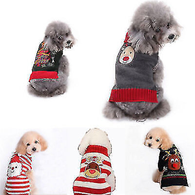 Dog Christmas Sweater.Pet Christmas Sweater Warm Knit Striped Puppy Clothes Xmas Costume For Dogs Cats Ebay