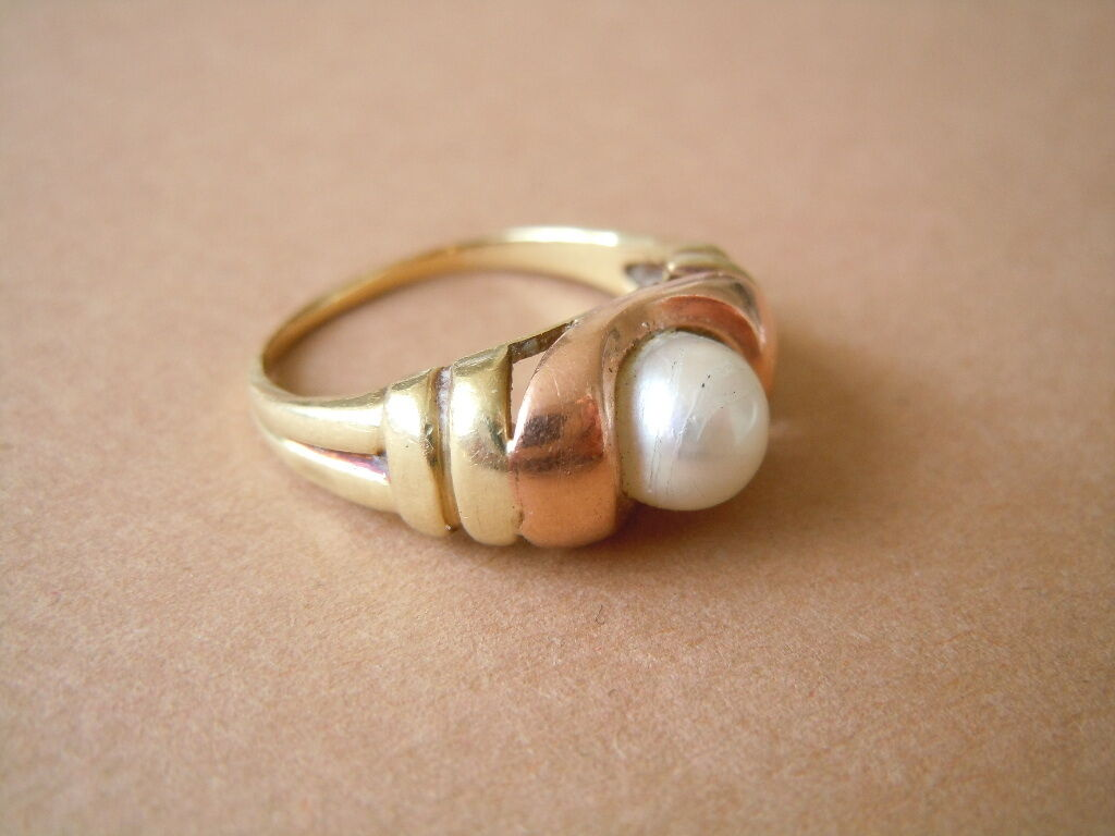 Rosé- yellowgold gold Ring 333   8 Kt mit Perle Gr 53   3,02 g