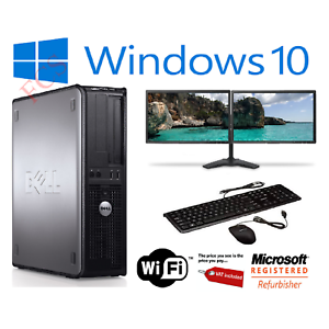 FAST-DELL-DUAL-SCREEN-PC-COMPUTER-DESKTOP-TOWER-WINDOWS-10-8GB-RAM-1000GB-HDD