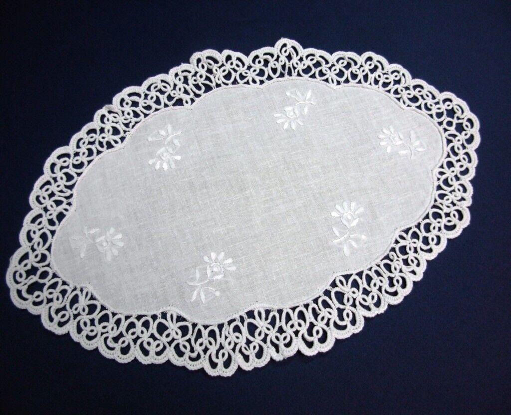 Tischdecke OCCHI Spitze HANDARBEIT rund 30cm Baumwolle  beige Deckchen