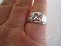 Vintage Men's Plated Ring W/ Quartz Stone, Sizes 10.5, 11.5, 11.75, Sparkle