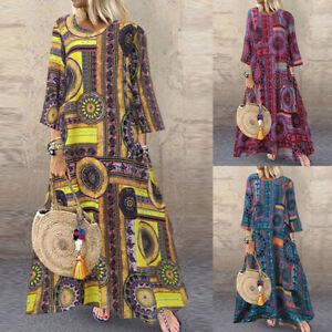 ZANZEA-Women-Long-Sleeve-Long-Shirt-Dress-Floral-Print-Crew-Neck-Midi-Dress-Plus