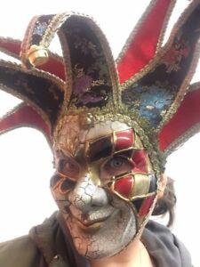 Jingle Jester Joker Halloween Mask Deluxe Masquerade Horror Fancy Dress Costume