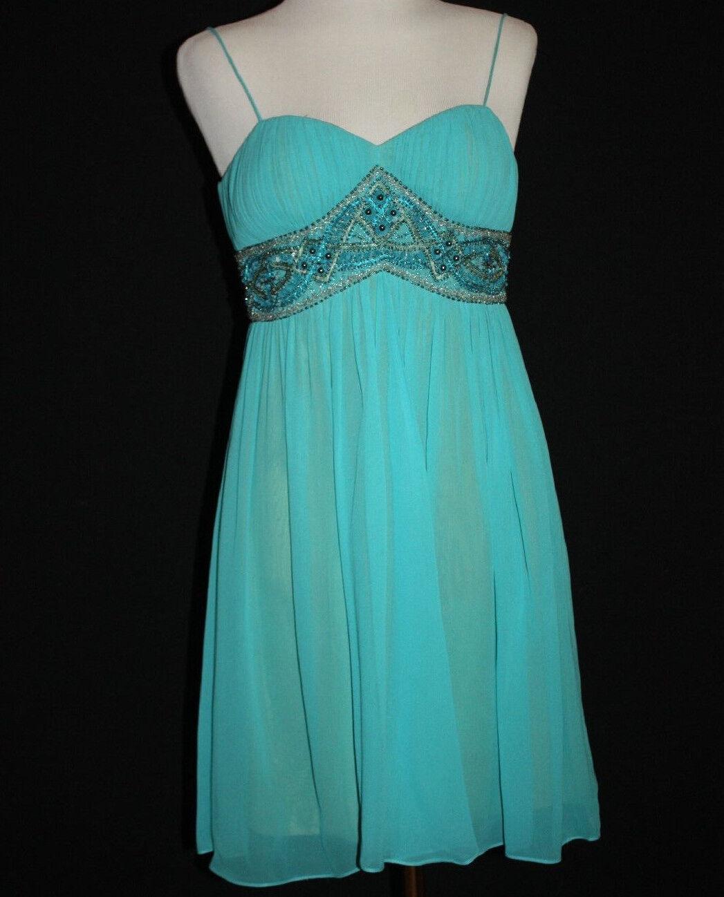..AIDAN MATTOX NITELINE Woherren SILK Aqua Blau Beaded Spag Strap Dress 4