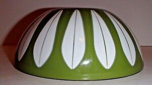 Catherineholm Lotus Metal Green Bowl Enamelware mid century 7""