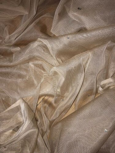 """1 MTR NUDE TULLE SOFT STUDDED BRIDAL//DECORATION NET FABRIC..40/"""" WIDE £1.99"""