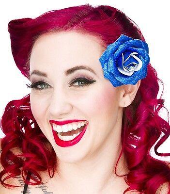 60082 Pink Glitter Rose Flower Hair Clip Sourpuss Pinup Retro Kawaii Sparkles