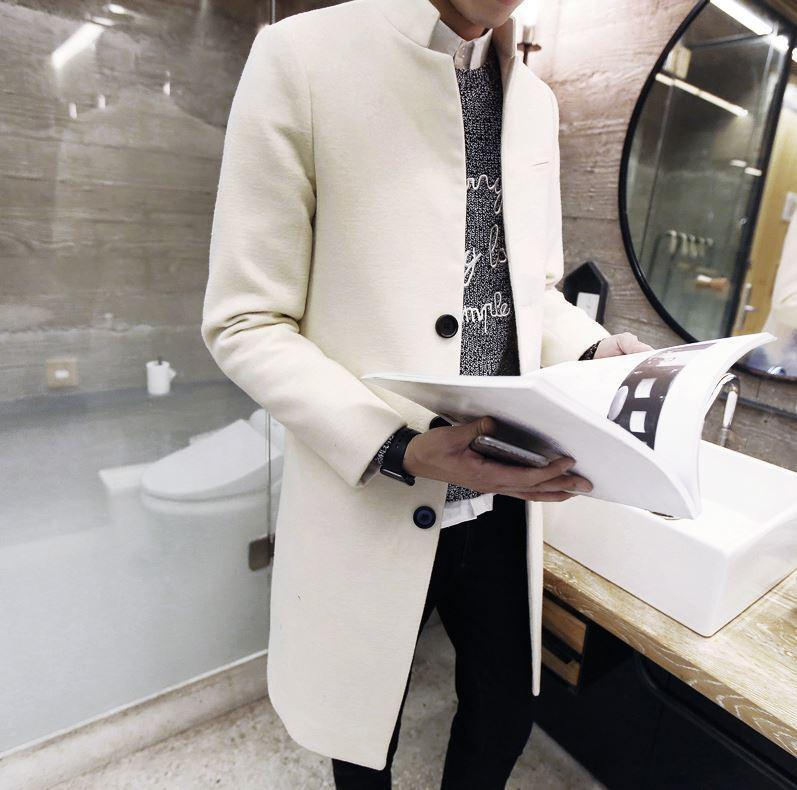 Mens Wool Blend Single Breasted Long Coat Koran Stylish Trench Outwear Parka