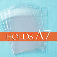 100 Clear Cello Bags 5 7/16 X 7 1/4 Inch For A7 Card + Envelope, Lip Adhesive