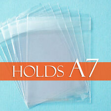 "100 Clear Cello Bags 5 7/16"" x 7 1/4"" inch for A7 Card + Envelope, LIP Adhesive"