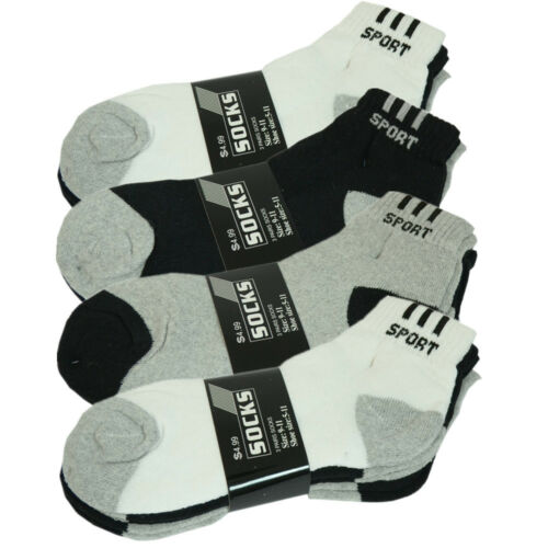 3-12 Pairs Mens Ankle Quarter Crew Sport Athletic Socks Cotton Low Cut Size 9-11