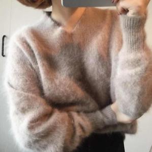 Sweaters Neck Women Pullover Hot V Cashmere Winter Mink Løse Tøj Short qx7F8S