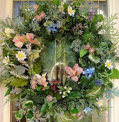 "Spring Summer Floral Door WREATHDIVA ""Fairy Delight""  Enchanted Garden Bird Bath"