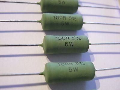 100r, 100 Ohm, 5%, 5w, 10-80ppm, Vishay, Ac 05, Ac05000001000jac00, 6 Stück