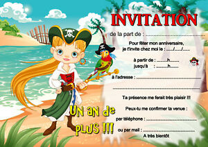 5 Ou 12 Cartes Invitation Anniversaire Pirate Fille Ref 404 Ebay