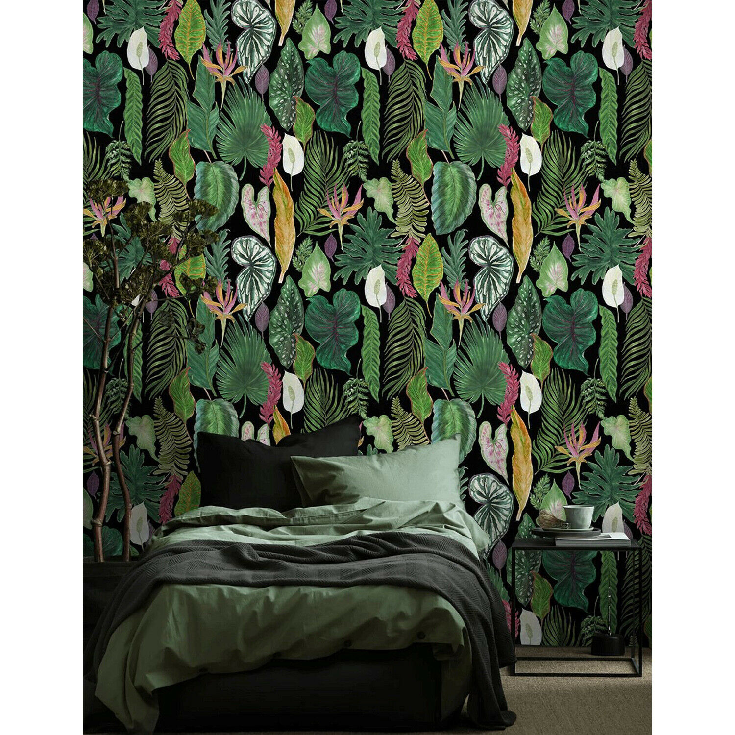 Tropical leaves Removable wallpaper Grün and Gelb Home Decor