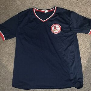 St. Louis Cardinals Retro Navy Blue Mesh Pullover Jersey XL SGA Stadium Giveaway