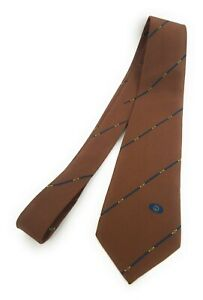 GUCCI-Tie-Vintage-GG-Cool-Brown-Equestrian-Strap-Buckle-Stripe-Skinny
