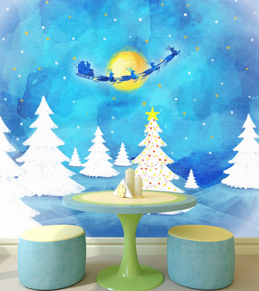 3D Watercolor Christmas 5 Wallpaper Murals Wall Print Wallpaper Mural AJ WALL US