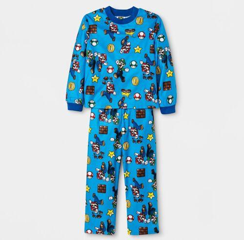 SUPER MARIO Pajamas Size 4,6,8,10 Boys Long Sleeve Shirt Pant Winter Set NEW NWT