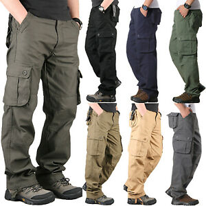 Mens-Cargo-Pants-Loose-Straight-Leg-Multi-Pocket-Casual-Work-Trousers-Size-30-42