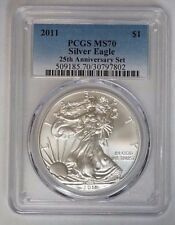 2011 P $1 American Silver Eagle 1 oz 25th Anniversary Set PCGS M70