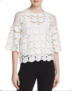Maje-Logan-Top-1-Tulle-White-Blanc-Floral-Brode-Applique-Blouse-Women-s-265