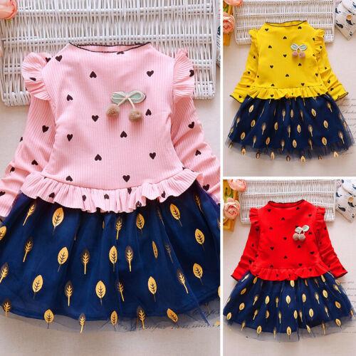 Girls Dress Children Party Autumn Long Sleeve Dress Stylish Infant Printed