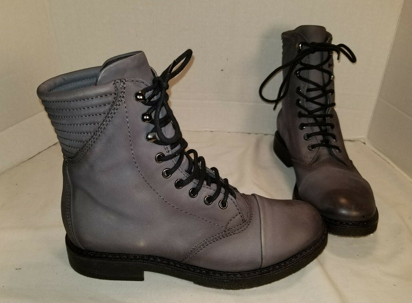 NEW FREE PEOPLE SPARROW LACE UP BLACK LEATHER BOOTS US 8 EU 38