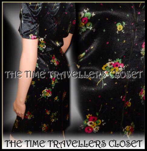 Kate Moss Topshop Black Silky Floral Zip 1940s 1950s Vintage Tea Dress UK 8 10