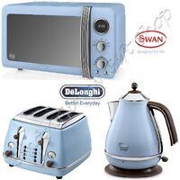 Blue Delonghi Vintage Icona Kettle & 4 Slot Toaster, 20l Retro Microwave Set