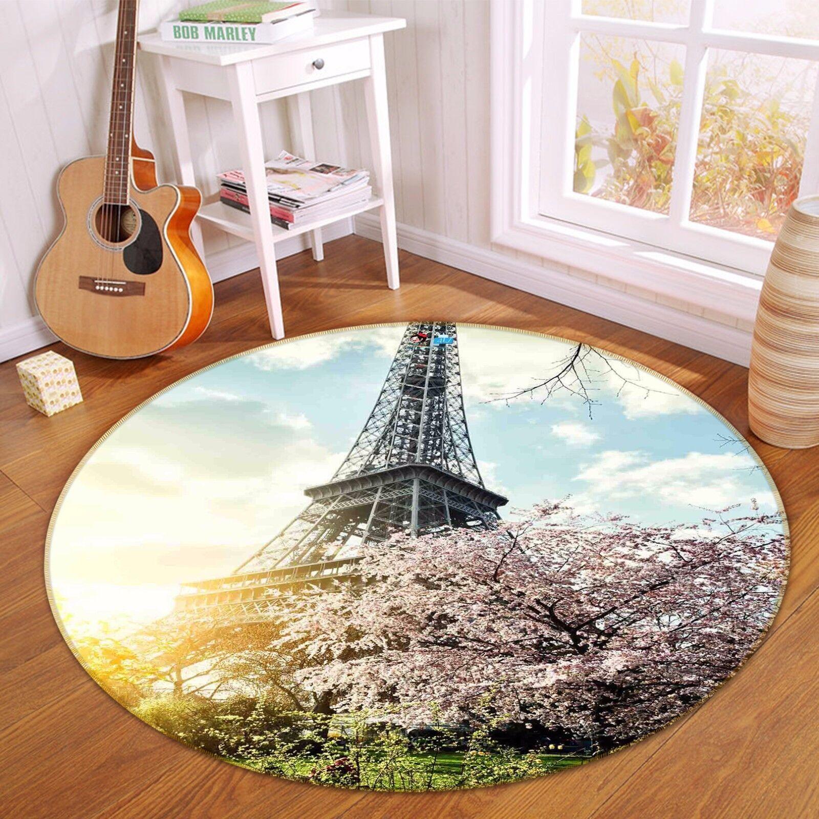 3D Eiffel Tower 45 Non Non Non Slip Rug Mat Room Mat Round Quality Elegant Photo Carpet 014267