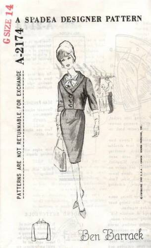 Spadea Designer Pattern A2174 Vintage Sewing Pattern Barrack Coat Jacket 1960s