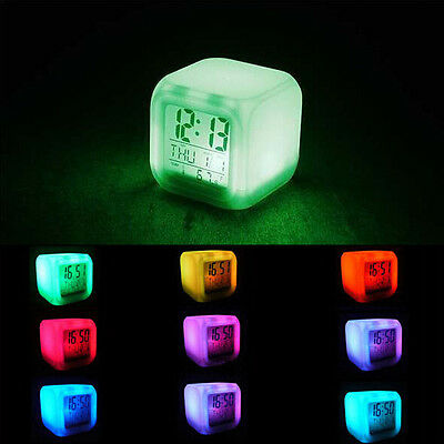 New Glowing 7 LED Color Change Digital Glowing Alarm Thermometer Clock