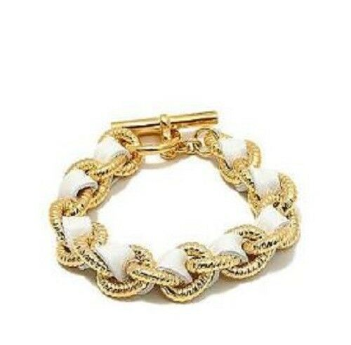 Bellezza Bronze and Leather Intertwined Link 8.5  Bracelet