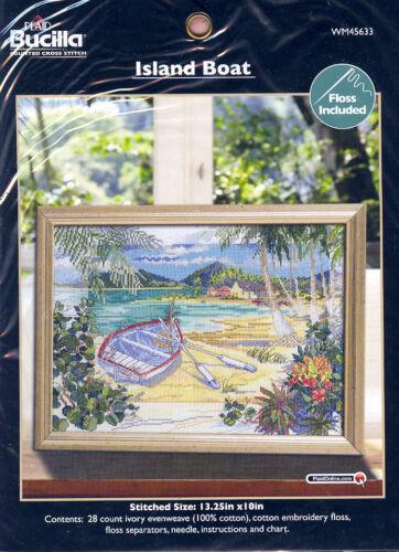 BUCILLA Counted Cross Stitch Kit ISLAND BOAT Tropical Beach NEW!!!