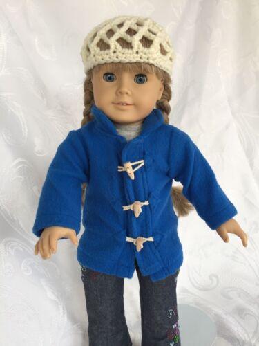 Cornflower Blue Toggle Coat /& Sweet Ecru Crocheted Cap for AG /& Many  Dolls