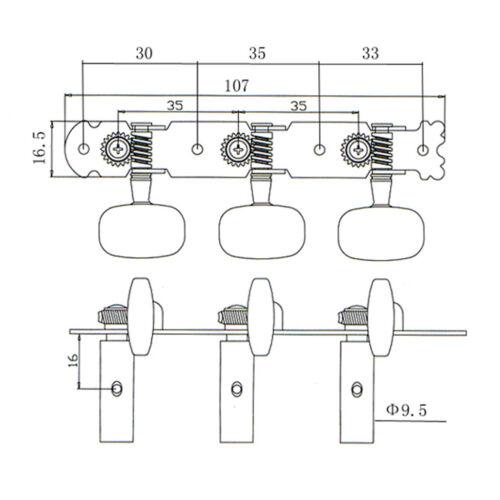 2 stücke Klassische Gitarre Stimmwirbel Mechaniken Mechaniker für