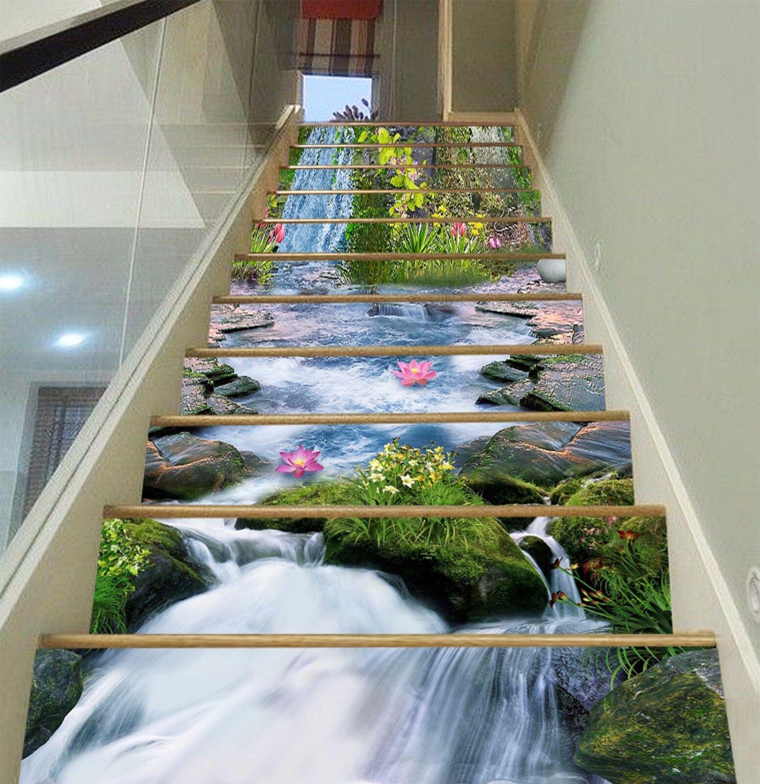3D Lotus Plants 583 Risers Decoration Photo Mural Vinyl Decal Wallpaper CA