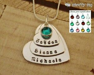 662142fef Image is loading Personalised-Necklace-Childrens-Names-3-Heart-amp-Crystal-
